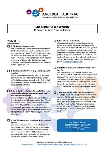 Checkliste für Ihre Website - Angebot = Auftrag